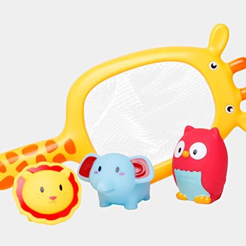 TOYANDONA 4pcs Juguetes para el baño del bebé Juguetes flotantes de Pesca Juguetes de Pesca de Arena (Jirafa Net + Lion + Owl + Baby Elephant)