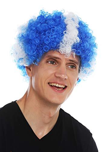 WIG ME UP - MMAM-15M Parrucca Carnevale Afro Parrucca Fan Campionati mondiali Calcio Scozia Croce Bianca su Blu