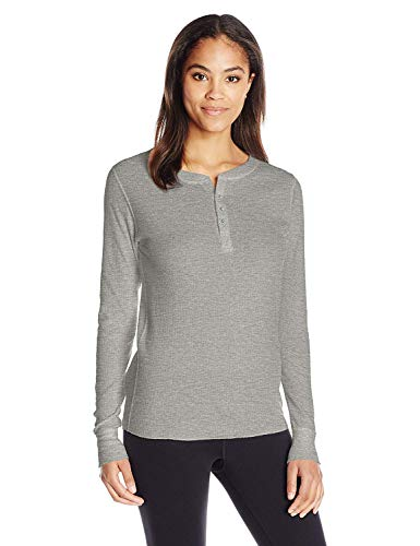 Hanes Plus Size Women's Ultimate Thermal Henley, Charcoal, Medium