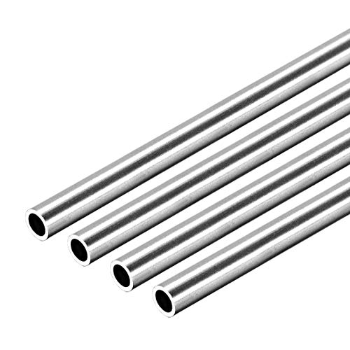 uxcell 304 Stainless Steel Round Tubing 6mm OD 0.8mm Wall Thickness 250mm Length Seamless Straight Pipe Tube 4 Pcs