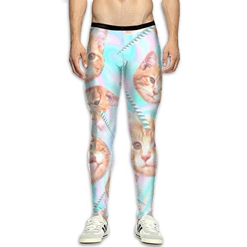 FIRS Horn Rainbow Cat - Leggings para hombre, diseño de gato, Hombre, color blanco, tamaño 34-37