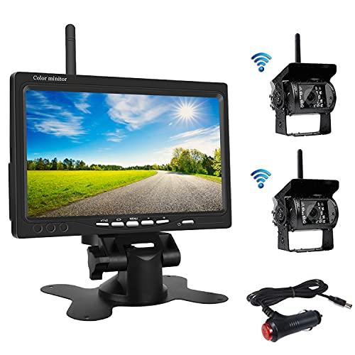 OiLiehu Wireless Rückfahrkamera Kit, 7 Zoll HD LCD Monitor mit Antenne, 2 x Wireless Rückfahrkamera, IP67, Nachtversion, 12-24 V, geeignet für Busse, SUV, LKW, Anhänger