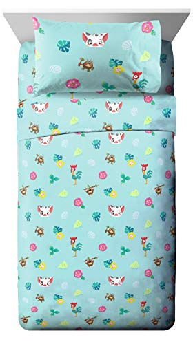 Jay Franco Disney Moana Flower Power Twin Sheet Set - Super Soft and Cozy Kid