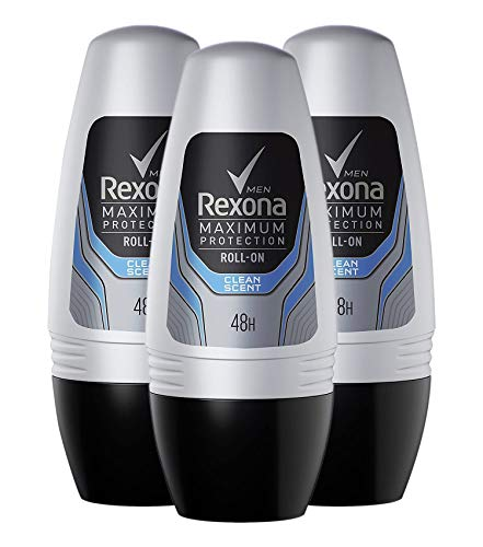 Rexona Men Desodorante Roll On Maximum Protection Clean Scent – transpirant (3 unidades, X 56 g)