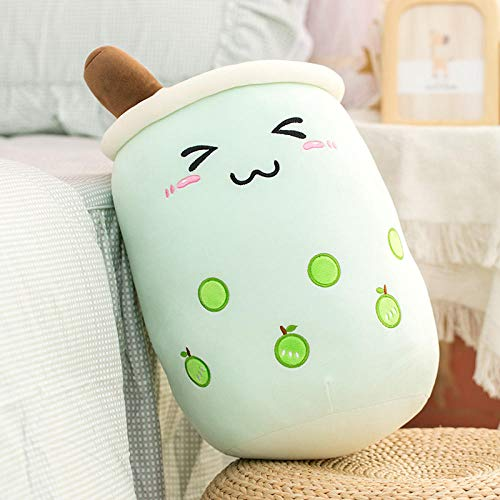 cfdnmoe 24/35/50Cm Cartoon Fruit Bubble Tea Cup Shaped Pillow Real-Life Stuffed Soft Back Cushion Funny Boba Food Girls 35Cm_Brown_Open_Eyes