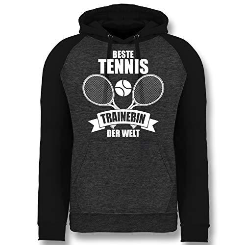Tennis - Beste Tennistrainerin der Welt - L - Anthrazit meliert/Schwarz - Geschenk - JH009 - Baseball Hoodie
