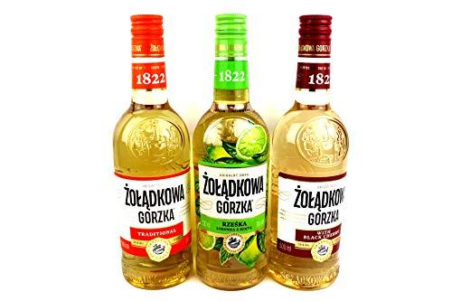 Dreier Paket Zoladkowa Gorzka Vodka (3x0,5) 1 Trditionel, 1 Black Shery, 1 Limette Minze