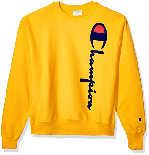 Champion LIFE Men's Reverse Weave Crew-Oversized Flock Script, C Gold, Large