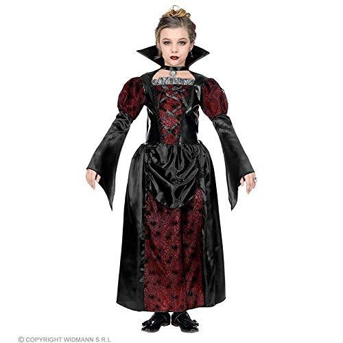 Lively Moments Kinderkostüm Vampiressa / Vampirkostüm für Mädchen / Kleid schwarz-Bordeaux / Halloween Kostüm für Kinder Gr. M = 140