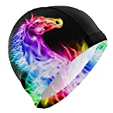 Gebrb Badekappe/Schwimmkappe/Bademütze, Men's Swim Cap Spectrum Animal Horse Anti-Slip Waterproof Comfy Swimming Caps