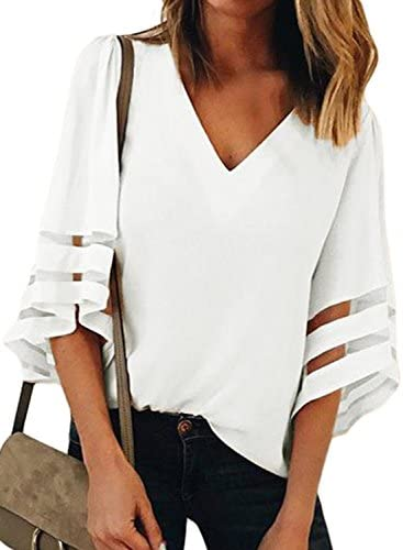 LOSRLY Women V Neck 3 4 Bell Sleeve Patchwork Blouses Casual Tops White1 XL product image