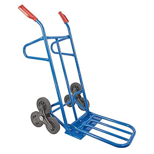 TRESTLES S20A Blau Sackkarre (Treppensteiger mit Sternrädern, Stahlgestänge mit vergößerbarer Ladefläche, 200 kg Tragkraft)