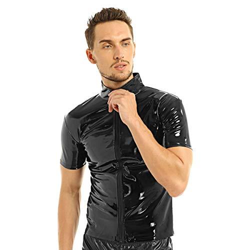 inhzoy Herren Wetlook Top T-Shirt PVC Jacke Mantel Kurz Lack Optik Hemd Oberteile mit Reißverschluss Shiny Clubwear Streetwear Schwarz Medium