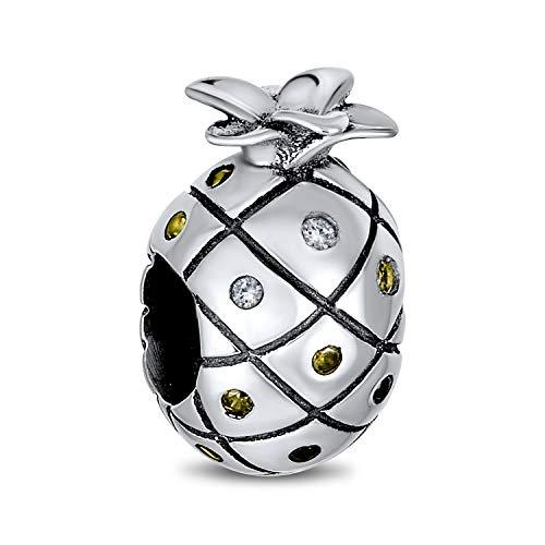 Bling Jewelry Vacaciones Tropicales Piña Fruta Golden CZ Abalorio Encanto Viajes para Mujer 925 Encaja Pulsera Europea
