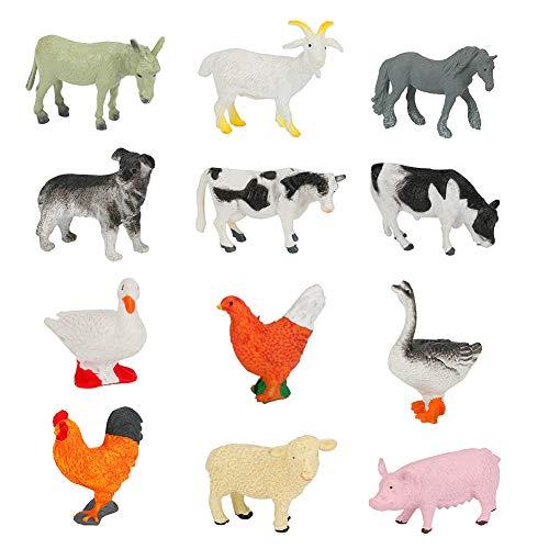 WIOR Farm Animals Figures  12Pcs Realistic Farm Animal Figurines  Small Plastic Farm Animal Toys Learning Educational Playset for Boys Girls Students Christmas Party Birthday Gift