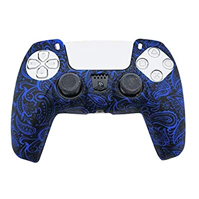 PS5 Silicone Gel Grip Controller Cover Skin (Dark Blue Flower) Compatible for Sony PlayStation 5, Compatible for PlayStation 5 Accessories, Wireless Controller Protector Covers, PS5 Skin