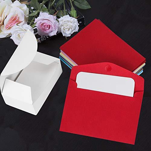 PrettyDate - Mini buste, 50 pezzi, multicolore, graziose mini buste con 50 biglietti vuoti per matrimoni, feste, feste di compleanno