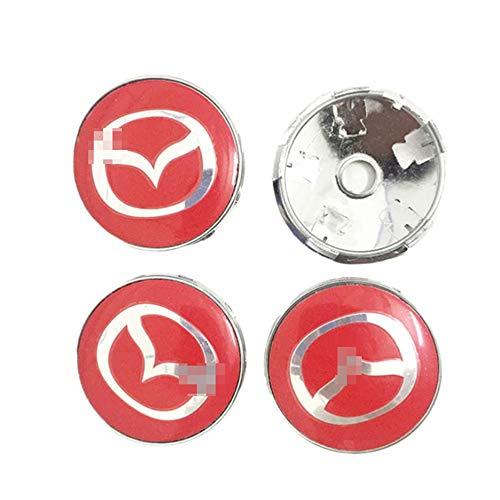 HBTTFR 4 Piezas, 60 mm, Tapas de buje Central de Rueda de automóvil, Tapa a Prueba de Polvo, Llantas centrales, Emblema, Insignia, Tapa de buje para Mazda Atenza Speed MX3 CX3 CX5 2 3 6 323 626
