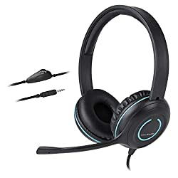 CYBER ACOUSTICS 3.5mm Stereo Headset with Headphones and Noise Cancelling Microphone