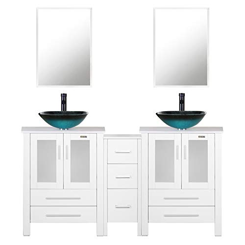 """60"""" White Bathroom Vanity,Double Vanity,0.5"""" Tempered Glass Vessel Sink (Light Blue),ORB Faucet,Drain Parts,Bathroom Vanity,Glass Sink Bowl,Removable Vanity Pedestal,MDF Board,Mirror,Mounting Ring"""