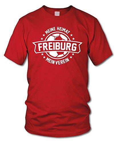 shirtloge - Freiburg - Meine Heimat, Mein Verein - Fan T-Shirt - Rot - Größe XXL