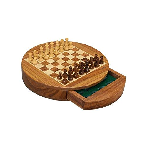 AMOYEE Tablero de ajedrez magnético Set de ajedrez Plegable portátil de ajedrez clásico Deluxe Juego de Mesa for niños de 6 años y Adultos 22,7 * 4Centimeter Hecho de Brown