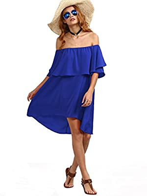 Romwe Women's Off The Shoulder Ruffle Casual Loose Shift Dress