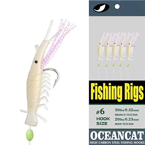 10 Packs Shrimp Fishing Rigs, 5 Hooks Glow Saltwater String Hook Fishing Lure Bait Rig Tackle (Shrimp, 4#)