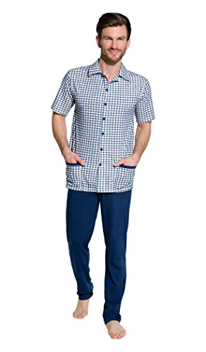 Taro heren pyjama - geruit tweedelige pyjama uit katoen nachtkleding - casual stijl - shirt met korte mouwen/lange mouwen met lange broek maat M L XL 2XL 3XL