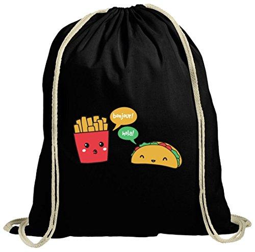 ShirtStreet Lustiger natur Turnbeutel mit Taco Pommes Motiv, Größe: onesize,schwarz natur