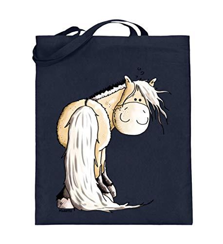 Shirtee Lustiges Fjordpferd Norweger Comic - Jutebeutel (mit langen Henkeln) -38cm-42cm-Deep Blue