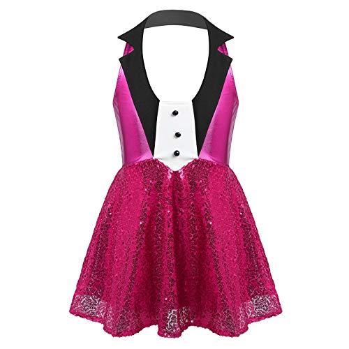 TiaoBug Maillot Danza Ballet Vestido de Danza Brillos Metlicos Lentejuelas Vestido de Danza Moderna Jazz Traje de Fiesta Disfraz Actuacin para Nias Rosa Oscuro 13-14 aos