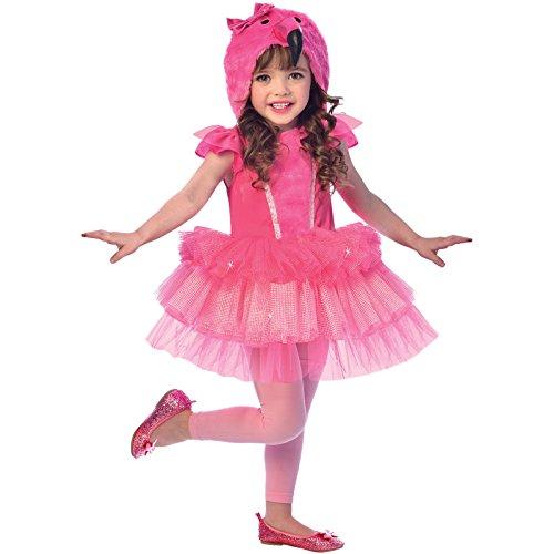 amscan 9903374 Dress with Head Hoodie-Age 7-8 Years-1 PC Pinkes Kleid mit Kapuze mit Flamingo-Kopf, Alter 7–8 Jahre, 1 Stück, Rose