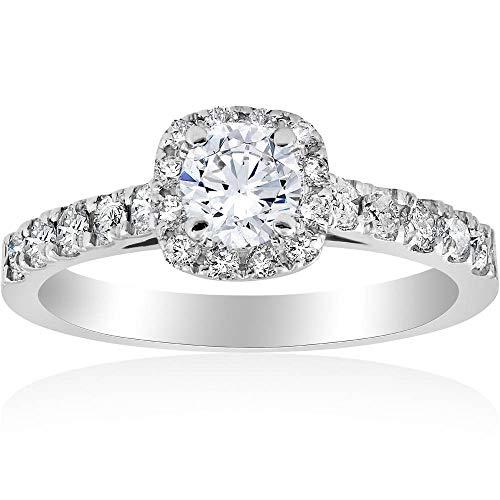 1ct Cushion Halo Diamond Engagement Ring 14K White Gold - Size 6.5
