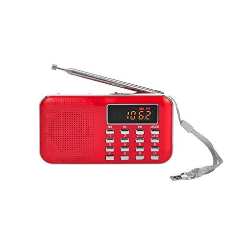 Bdesign Mini Radio FM, reproducción de Audio de MP3 estéreo portátil 3W con Soporte de Calidad de Sonido de Alta fidelidad con Tarjeta TF USB (Color : Red)