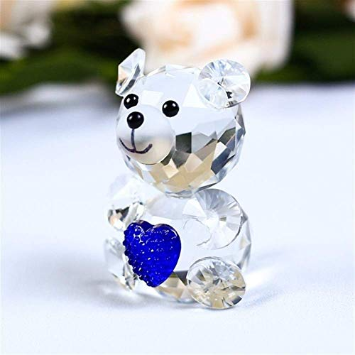 XBSXP 1 Pieza Linda Figura de Cristal de Oso con un Adorno en Forma de corazón Animal de Cristal en Miniatura Amor Regalos románticos Decoración del hogar (Color: Corazón Azul Oscuro)