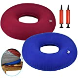 DECARETA 2-teiliges aufblasbares Donut-Kissen zum Sitzen eines Hämorrhoiden-Kissens mit 2 Pumpen...