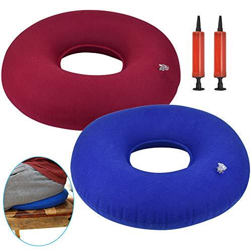 DECARETA Cojín Inflable para donas de 2 Piezas para Sentarse Cojín para hemorroides con 2 Bombas para inflar donas antiescaras para la Oficina de Viajes en automóvil (Azul y Rojo)