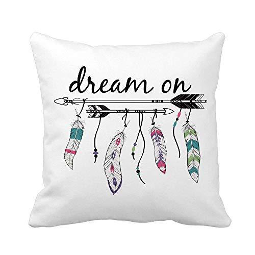 N\A Throw Pillow Cover Raster Étnico Flechas y Plumas Motivos Indios Americanos Funda de Almohada Boho Funda de Almohada Cuadrada Decorativa para el hogar Funda de cojín