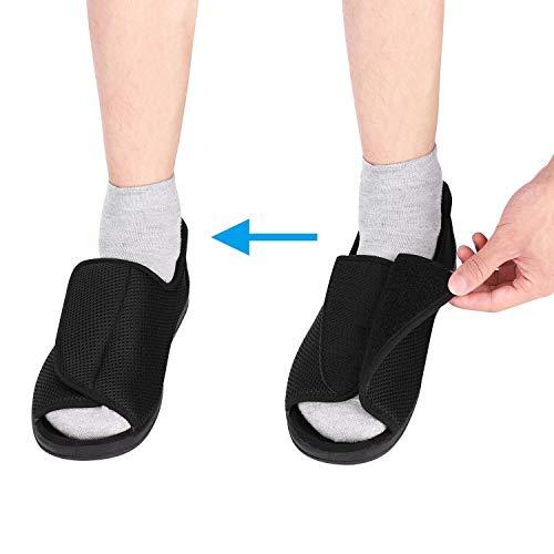 ITODA - Zapatos diabéticos para hombre, ortopédicos, con punta abierta, ajustable, para interiores y exteriores, antideslizantes, cómodos, para pies hinchados, Negro , EU 45