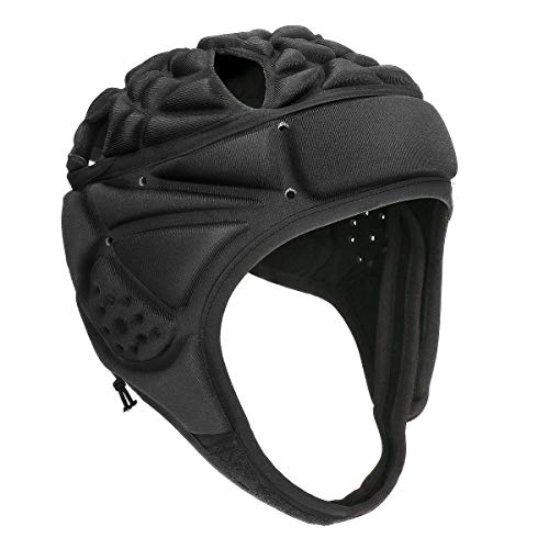 Powcan Rugby Helm Sport Rugby-Kopfbedeckung Einstellbar Rugby-Kopfschutz Torhüter Fußball Torwart Helm Kopfschutz Kappe mit verstellbarem Kinnriemen und elastischem Seil für Hockey Fußball Schwarz