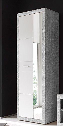 AVANTI TRENDSTORE - Solaika - Arredamento da Ingresso, in Laminato di Grigio Cemento d'imitazione e Colore Bianco Lucido (Armadio)