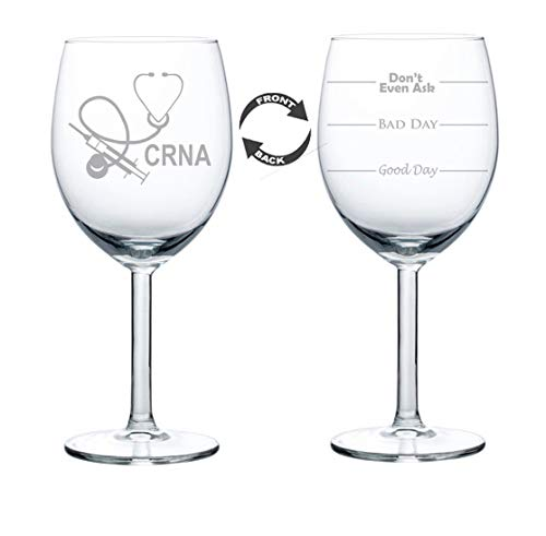 Wine Glass Goblet Two Sided CRNA Nurse Anesthetist Anesthesiology (10 oz)