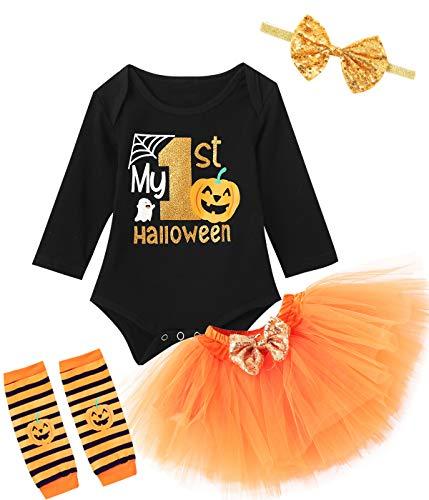 TrulyBee My 1st Halloween Outfits Pumpkin Costume Tutu Lace Skirt Set (Black,6-12 Months)
