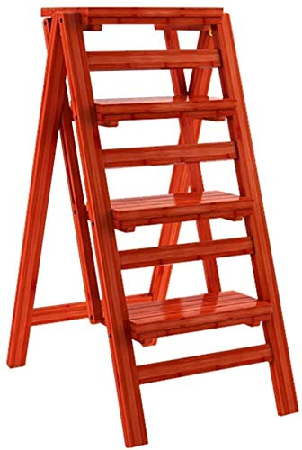 NYDZDM trapladder met 4 vouwtreden houten huisje trapkrukken, verlengde hoge kruk voor kinderen en volwassenen, hoogte van de tuin 68 cm intensief gebruik max. 150 kg in rood