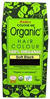 RADICO - 100% Natural Hair Color - Soft Black - Covers Gray Hair - Protects and Nourishes - Certified by Ecocert - 100 g