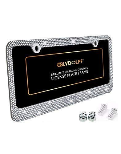 BLVD-LPF OBEY YOUR LUXURY Popular Bling 7 Row Crystal Metal Chrome License Plate Frame with Screw Caps (1, Clear)
