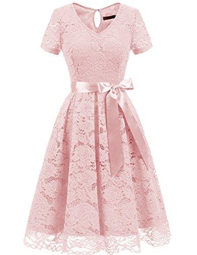 DRESSTELLS Damen Elegant Abendkleider für Hochzeit Herzform Spitzenkleid Cocktail Party Floral Kleid Blush 2XL