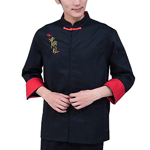 QWA Manica Lunga Chef Giacca Uomini Donne Cucinando Uniforme Alta qualità Chef Cappotto Ristorazione Pasticceria Hotel Abiti da Lavoro (Color : Black, Size : F(4XL))