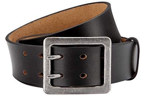 Eg-Fashion Herren Ledergürtel Schwarz Doppeldorn-Schließe 43mm Breite 90cm